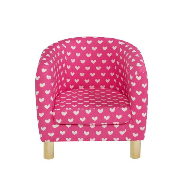 Children's Tub Chair in Pink Hearts