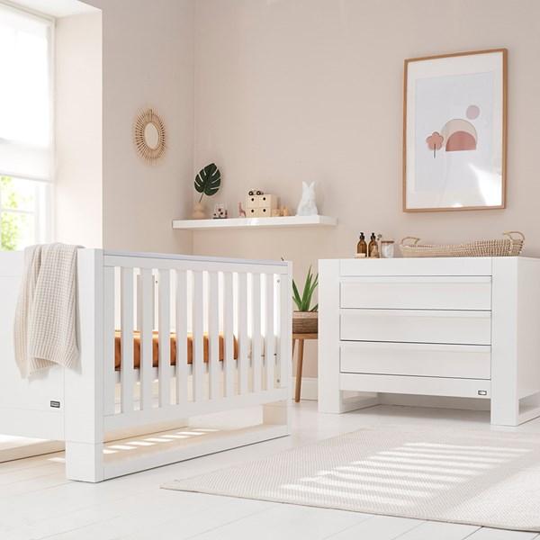 Tutti Bambini Rimini Cot Bed 2 Piece Nursery Set in White