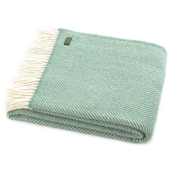 Tweedmill Fishbone Sea Green Wool Throw