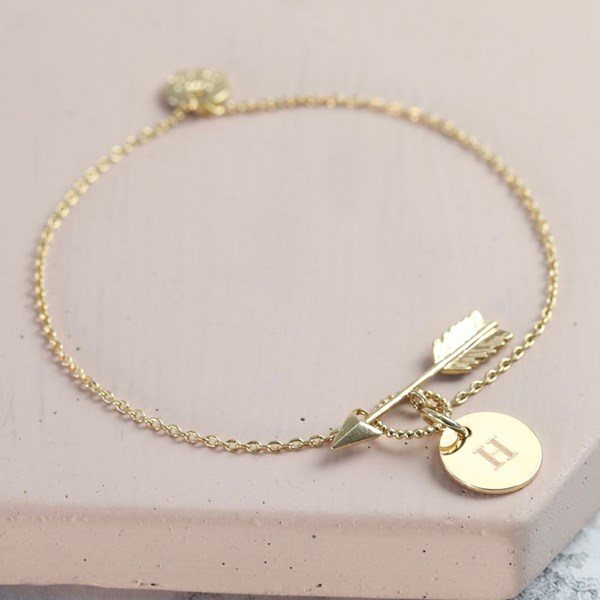 Personalised Gold Arrow Bracelet