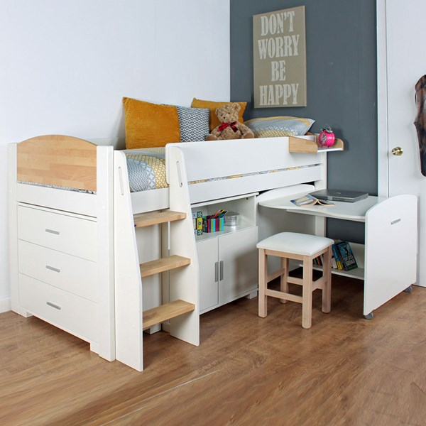Urban Birch Mid Sleeper 1 Bed in White & Birch