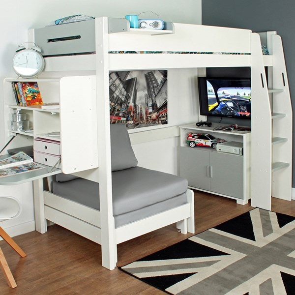 Urban Grey High Sleeper 2 Bed in White & Grey