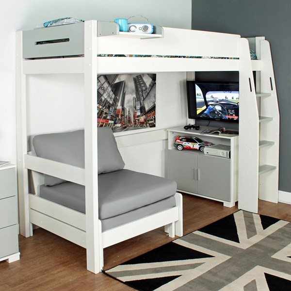 Urban Grey High Sleeper 3 Bed in White & Grey