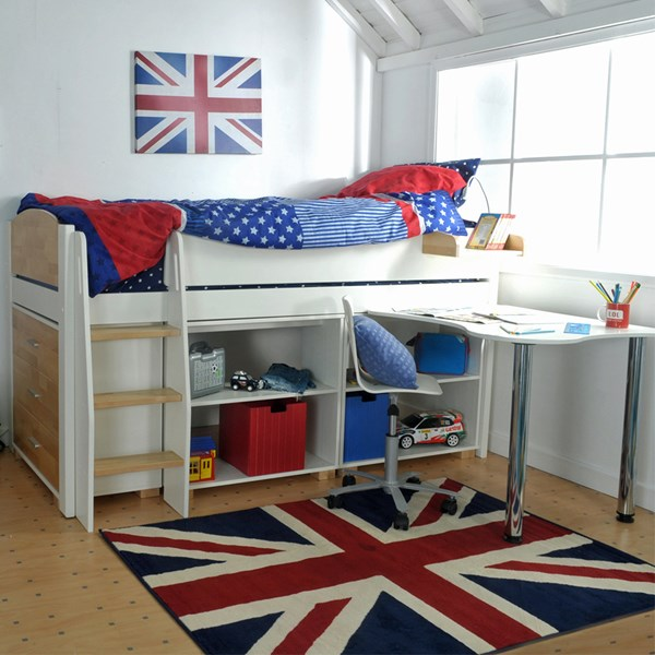 Urban Kids Mid Sleeper Bed with Storage and Desk