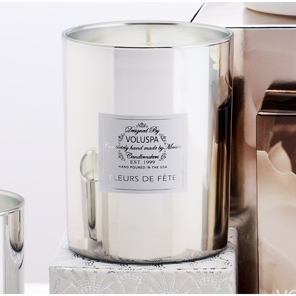 VOLUSPA Scented Candle - Seasons Metallic Candle in Fleurs De Fete
