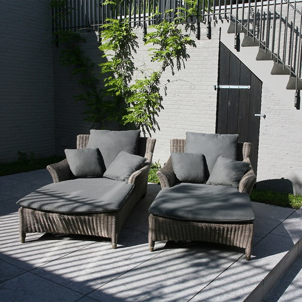 Luxury Patio Sun Lounger with Curved Armrests