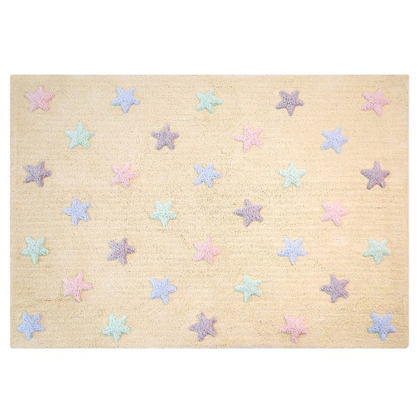 Stars Washable Floor Mat in Vanilla and Purple and Pink Stars