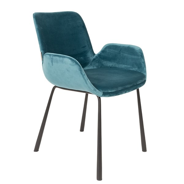 Zuiver Pair of Velvet Look Brit Upholstered Armchair in Petrol