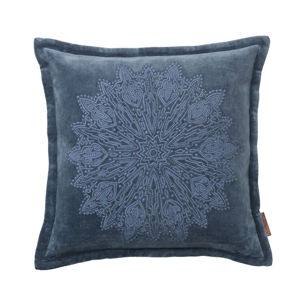 Velvet Cushion with Mandala Embroidery in Royal Blue