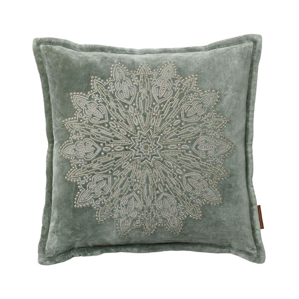 Velvet Cushion with Mandala Embroidery in Army Green