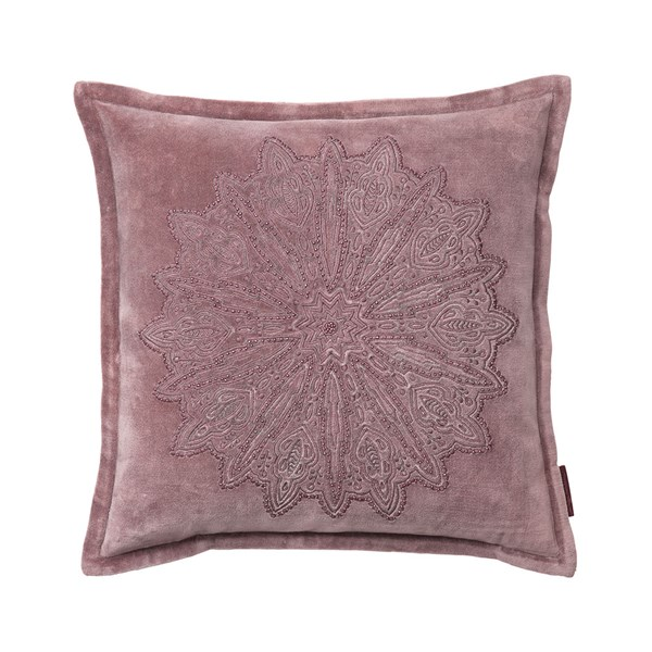 Velvet Cushion with Mandala Embroidery in Rust