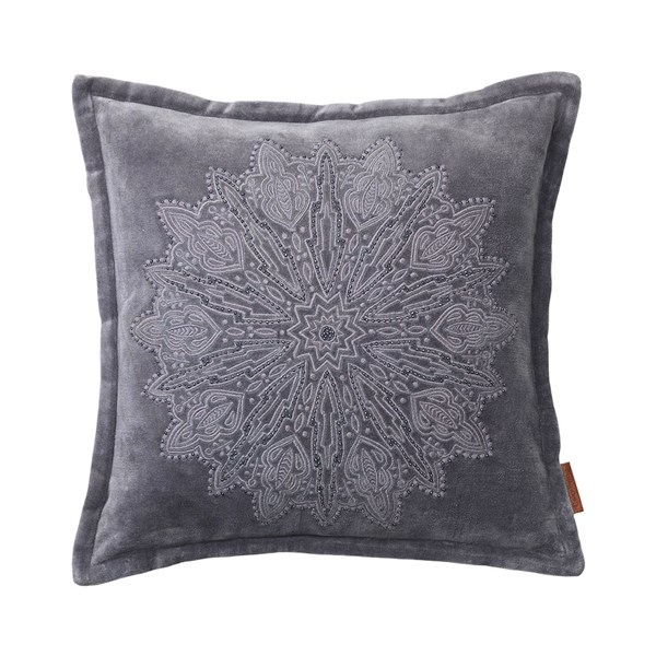 Velvet Cushion with Mandala Embroidery in Steel