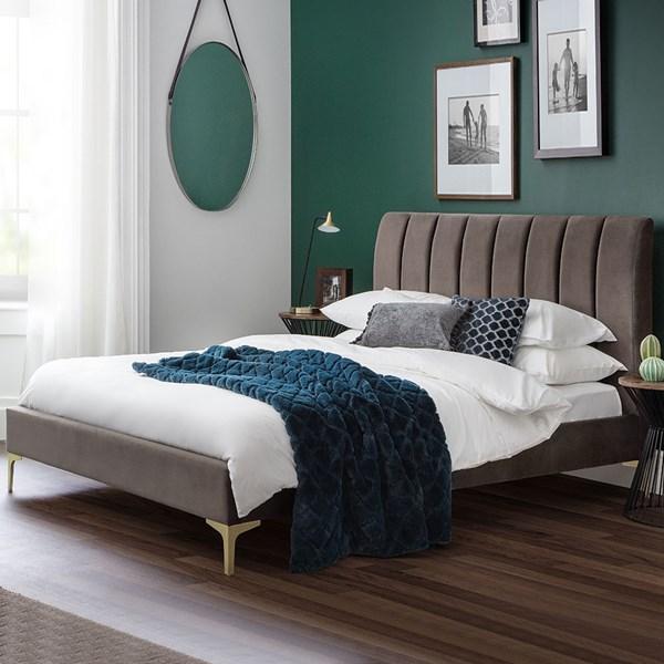 Julian Bowen Deco Scalloped Velvet Bed