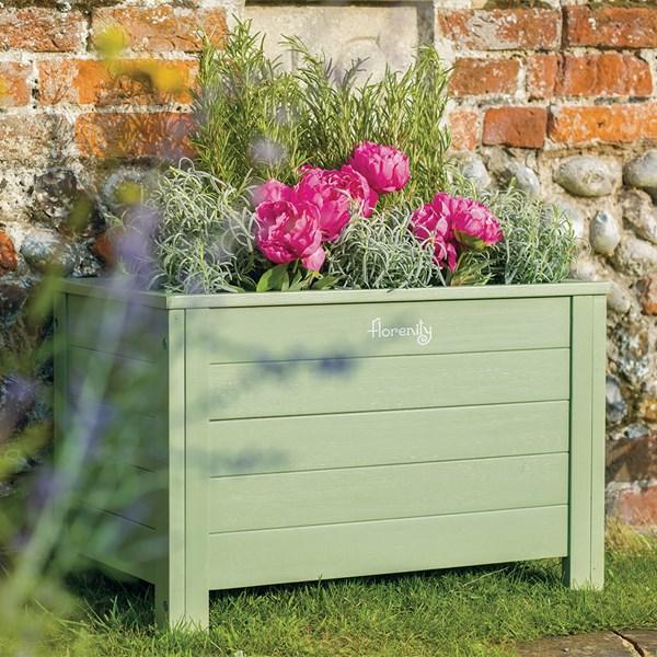 Verdi Wooden Rectangular Garden Green Planter