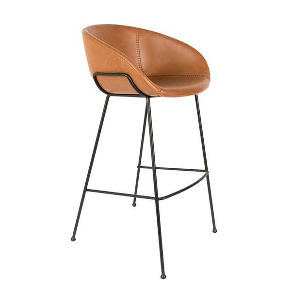 Zuiver Pair of Feston Upholstered Bar Stools in Brown PU Leather
