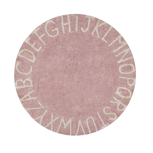 Girls Light Pink Round Bedroom Play Rug