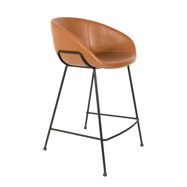 Zuiver Pair of Feston Upholstered Counter Stools in Brown PU Leather