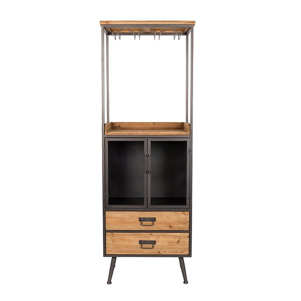 Damian Industrial High Wine Cabinet