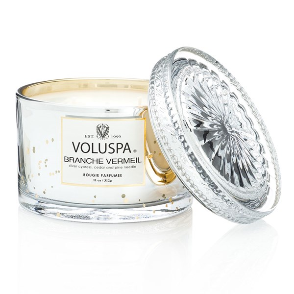 Voluspa Double Wick Glass Candle in Branche Vermeil