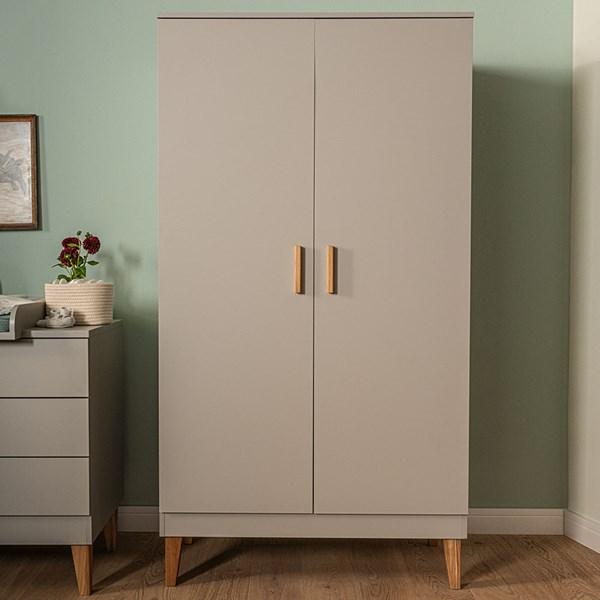 Vox Lounge Double Wardrobe in Light Grey & Oak
