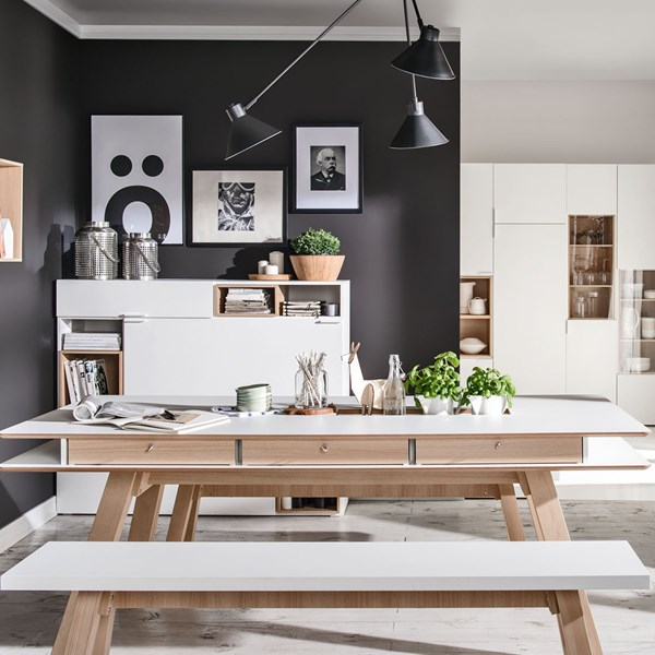 Unique Scandi Style Kitchen Table Set in White from Vox