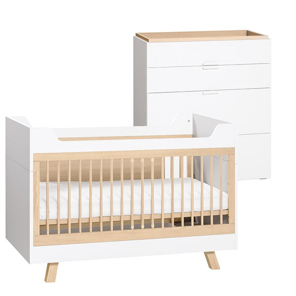 Vox 4 You 3 in 1 Baby & Toddler Cot Bed 2 Piece Nursery Set in White & Oak
