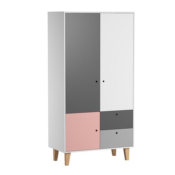 Vox Concept 2 Door Wardrobe in Grey & Pink