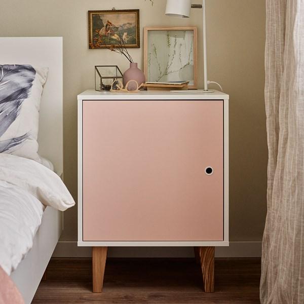 Vox Concept Bedside Cabinet in White & Pink