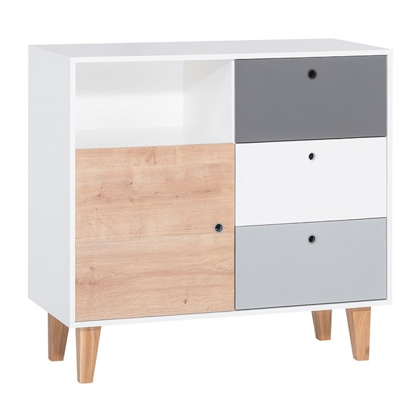 Concept Chest of Drawers in Grey and Oak Effect