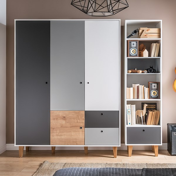 Concept 3 Door Wardrobe in Grey and Oak Effect
