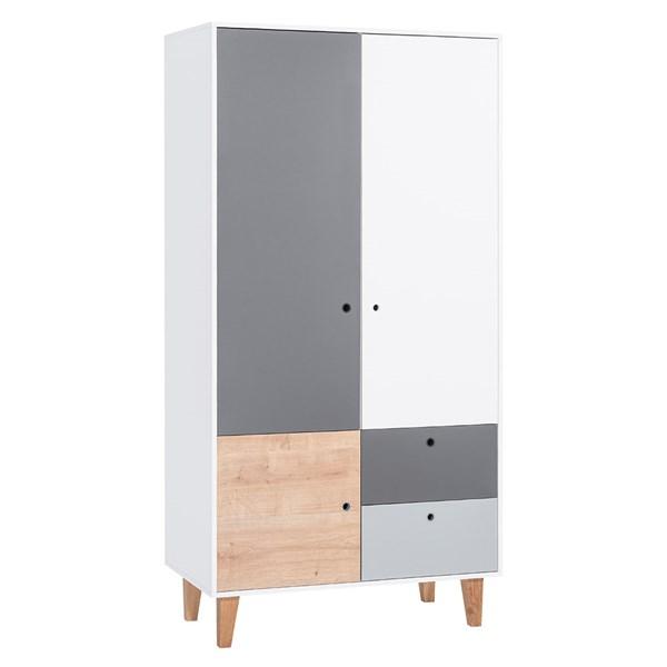 Concept 2 Door Wardrobe in Grey and Oak Effect