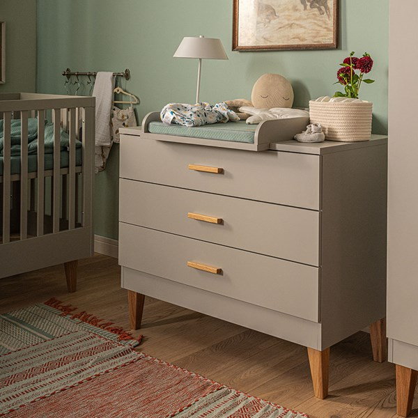 Vox Lounge Chest of Drawers in Light Grey & Oak