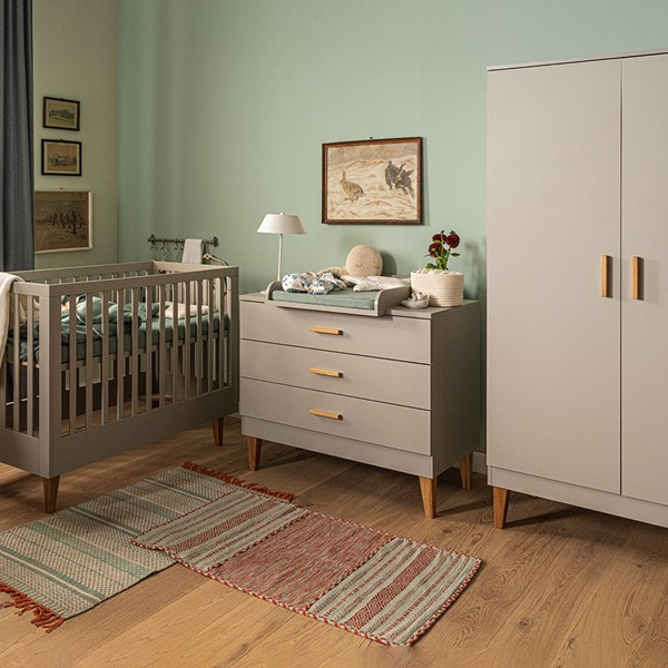 Vox Lounge Cot 3 Piece Nursery Set in Light Grey & Oak