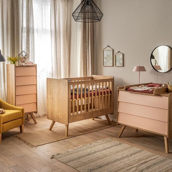 Stylish Oak Effect and Pastel Pink Nursery Set