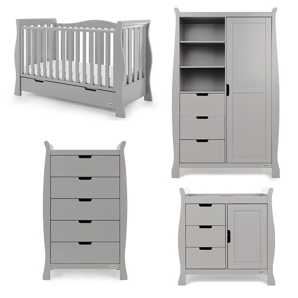 Obaby Stamford Luxe Cot Bed 4 Piece Nursery Furniture Set