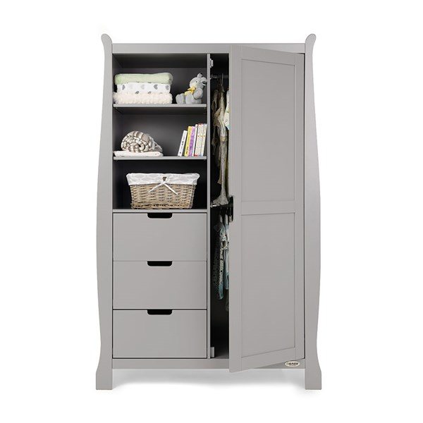Obaby Stamford Double Wardrobe in Warm Grey