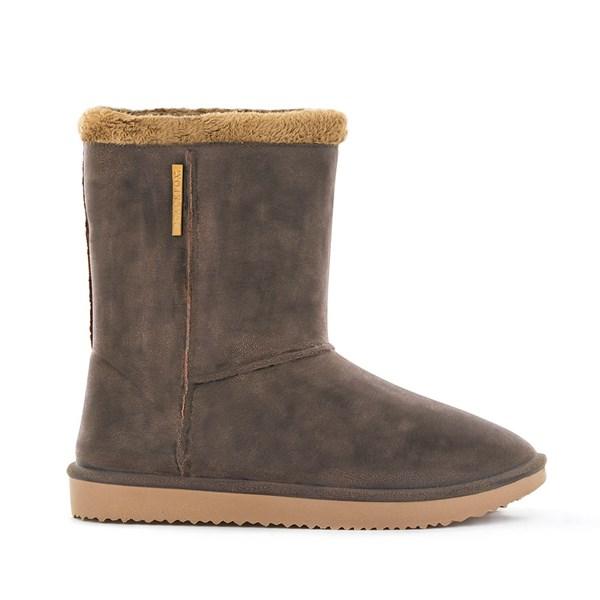 Waterproof Sheepskin Style Ladies Snug-Boot Wellies in Brown
