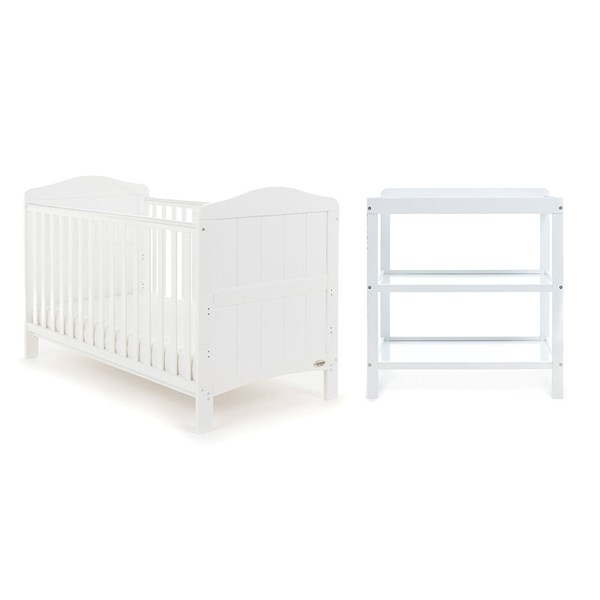 Obaby Whitby Cot Bed 2 Piece Nursery Set in White