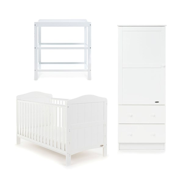Obaby Whitby Cot Bed 3 Piece Nursery Set in White