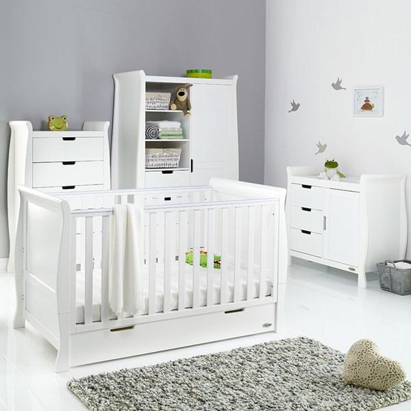 Obaby Stamford Sleigh Cot Bed 4 Piece Nursery Furniture Set
