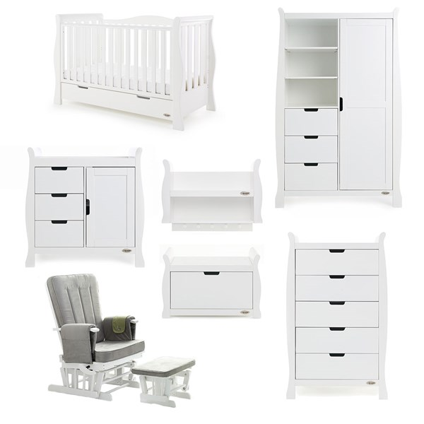 White Nursery Furniture with Sleigh Cot Bed and Nursing Chair