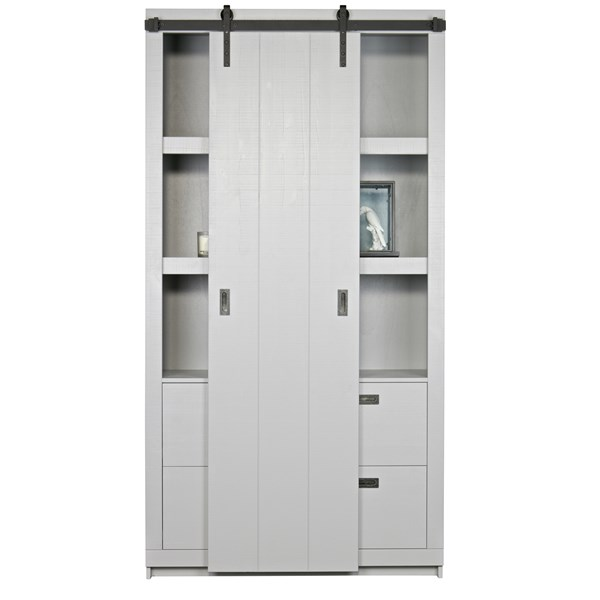 Rustic Pine Cabinet with Sliding Door in Concrete Grey