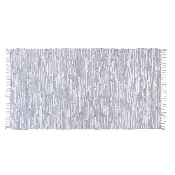 Leather Rag Rug in White