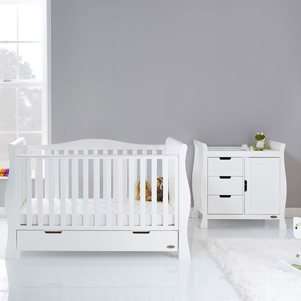Obaby Stamford Luxe Cot Bed 2 Piece Nursery Furniture Set in Various Colours