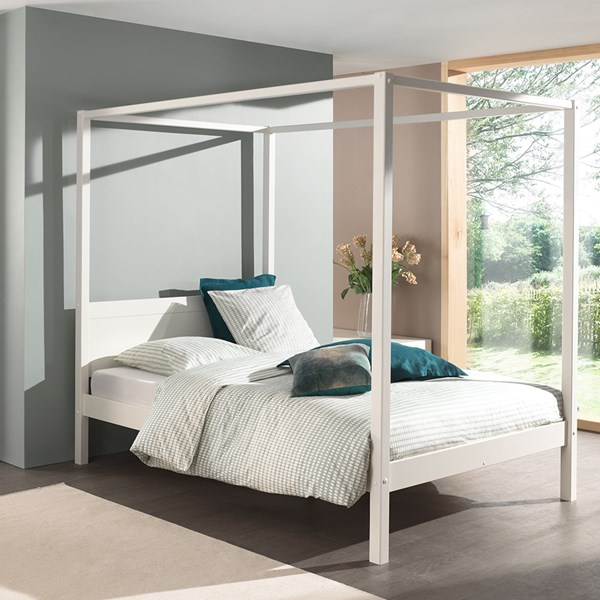 Four Poster Bed Frame in White