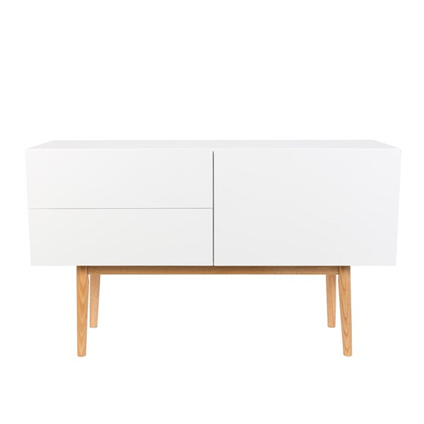 Zuiver Scandinavian 2 Drawer 1 Door Sideboard in White & Oak