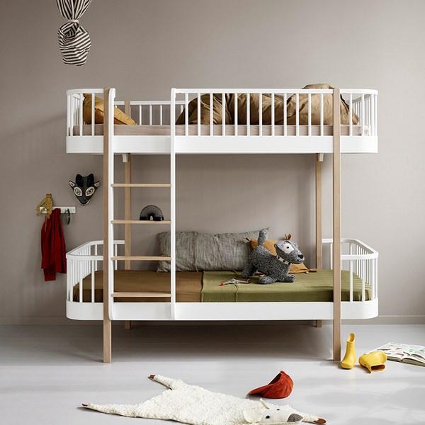 Oliver Furniture Wood Children's Luxury Bunk Bed in White & Oak