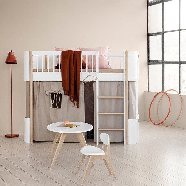 Wood Mini+ Low Loft Bed in White and Oak