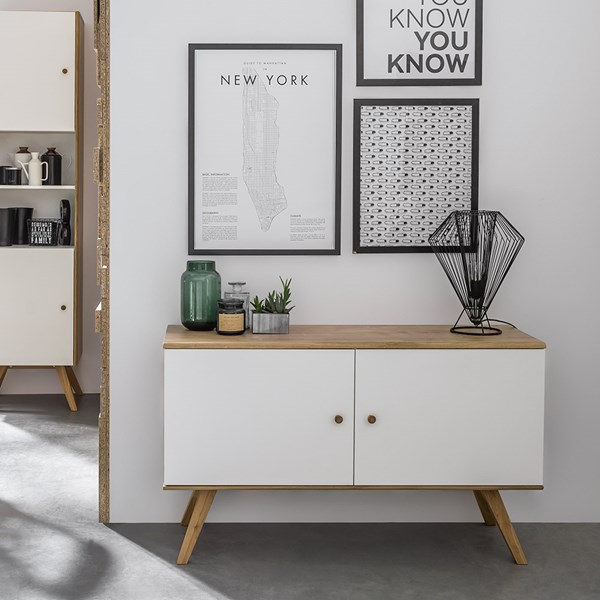 Nature Small Wooden Sideboard in White & Oak
