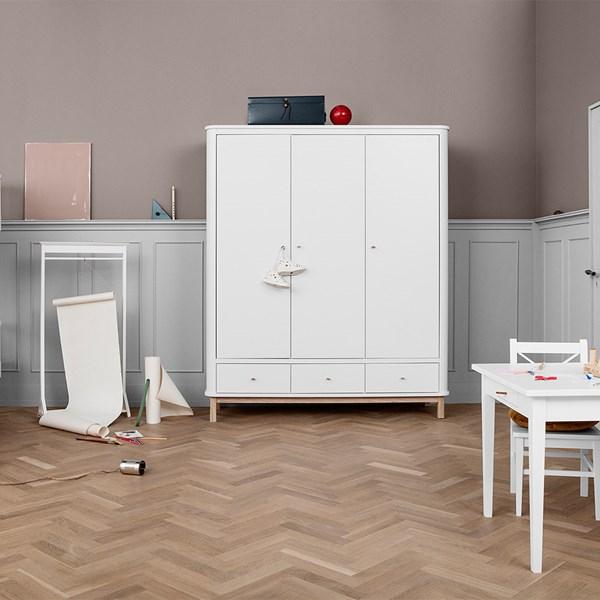 Wood Luxury 3 Door Wardrobe in White and Oak